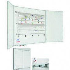 Tabla alba magnetica cu 5 suprafete,  90 x 120 cm, profil aluminiu  RC, SMIT
