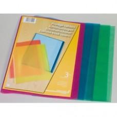Coperta PP - 120 microni, pentru caiet A4, 3 buc/set, AURORA - transparent color asortate