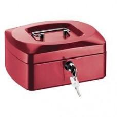 Caseta (cutie) metalica pentru bani, 205 x 160 x 85 mm, tavita monezi, ALCO - rosie