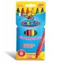 Carioca super lavabila, varf subtire 2.6mm,  6 culori/cutie, CARIOCA Joy