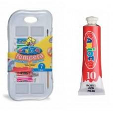 Acuarele Tempera lavabila,  7 culori x 7.5ml/set + pensula gratis, CARIOCA