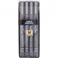 Marker pentru desen tehnic ARTLINE, varf fetru (0.2/0.4/0.6/0.8mm), 4 buc/set - negru