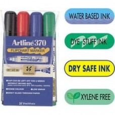 Marker pentru flipchart ARTLINE 370 - Dry safe ink, corp plastic, varf rotund 2.0mm, 4 culori/set