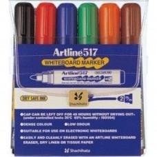 Marker pentru tabla de scris ARTLINE 517 - Dry safe ink, varf rotund 2.0mm, 6 culori/set