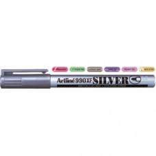 Marker cu vopsea ARTLINE 990XF, corp metalic, varf rotund 1.2mm - argintiu