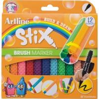 Marker pentru colorat ARTLINE Stix, varf flexibil (tip pensula), lavabil, 12 buc/cutie