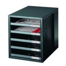 Suport plastic cu 5 sertare pentru documente, HAN (open) - negru