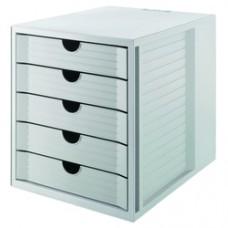Suport plastic cu 5 sertare pentru documente, HAN - gri deschis