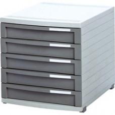 Suport plastic modular cu  5 sertare pentru documente, HAN Contur - gri deschis/gri inchis