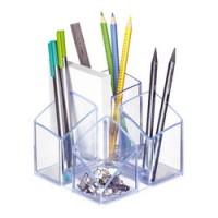 Suport pentru articole de birou, HAN Scala - transparent cristal cu margine albastra
