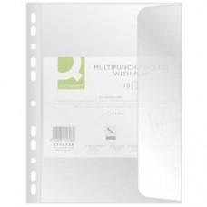 Folie protectie documente A4, cu clapa laterala, 100 microni, 10/set, Q-Connect - transparent