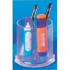 Suport plastic pentru instrumente de scris, cilindric,  97 x 104mm, KEJEA - transparent mat