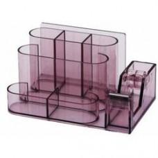 Suport plastic pentru accesorii de birou, 7 compartimente, 168 x 78mm, KEJEA - fumuriu