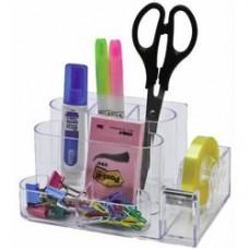 Suport plastic pentru accesorii de birou, 7 compartimente, 168 x 78mm, KEJEA - transparent