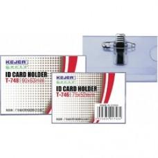 Ecuson PVC, pentru nume, cu ac si clip,  70 x 42mm, KEJEA - transparent