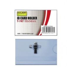 Ecuson PVC, pentru nume, cu ac si clip,  90 x 54mm, KEJEA - transparent