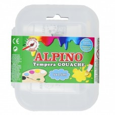 Acuarele Tempera lavabila,  5 culori x 7.5ml/cutie + pensula gratis, Alpino Gouache