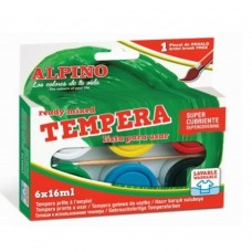 Acuarele Tempera lavabila, 6 culori x 16ml/cutie + pensula gratis, Alpino