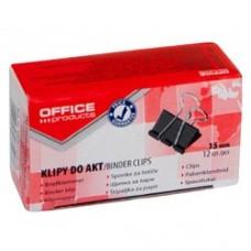 Clip hartie 15mm, 12buc/cutie, Office Products - negru