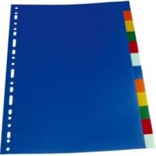 Separatoare plastic color, A4, 120 microni,  5 culori/set, Optima