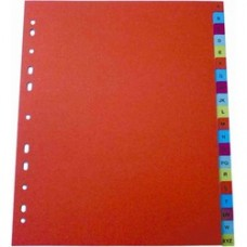 Index plastic color, numeric 1-12, A4, 125 microni, Optima