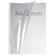 Coperti plastic PVC cu sina metalica  3mm, OPUS Easy Open - transparent cristal/alb