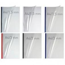 Coperti plastic PVC cu sina metalica  5mm, OPUS Easy Open - transparent cristal/rosu