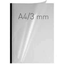 Coperti plastic PVC cu sina metalica  3mm, OPUS Easy Open - transparent mat/negru