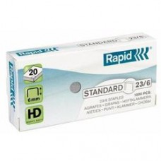 Capse RAPID Standard 23/ 6, 1000 buc/cutie - pentru 2-20 coli