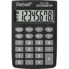 Calculator de buzunar, 8 digits,  88 x 58 x  8 mm, Rebell HC108 - negru
