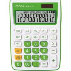 Calculator de birou, 12 digits, 145 x 104 x 26 mm, Rebell SDC 912 - alb/verde