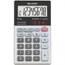 Calculator de buzunar, 8 digits, 105 x 60 x  8 mm, SHARP EL-W200GGY - gri