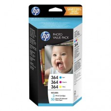 Cartus HP 364 Series Photo Value Pack-50 sht/10 x 15 cm
